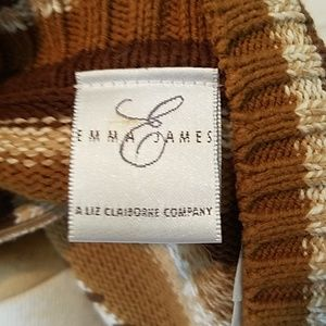 "Emma James Sweaters - Brown, striped ""grandpa "" sweater"